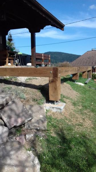 Extension d'une terrasse bois,( première partie faite en 2016).