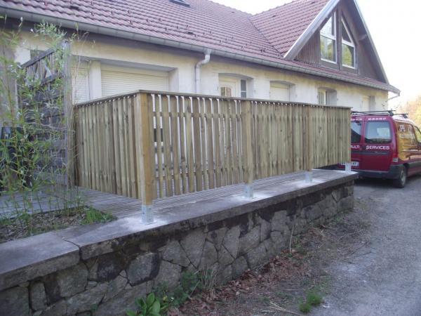 Pose clôture bois et portillon avec main courante finie autre vue