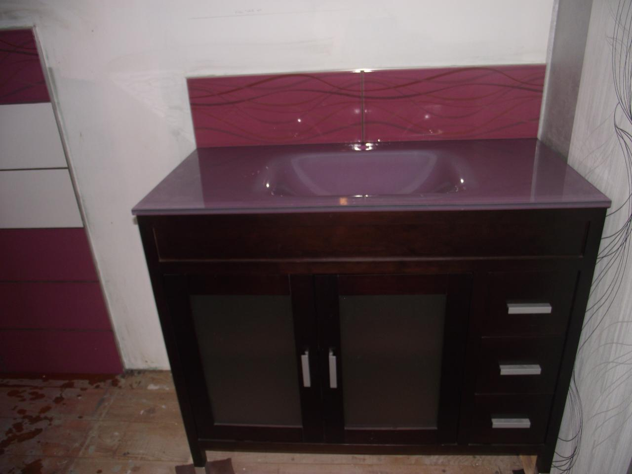 Carrelage pos au dessus lavabo sdb - Salle de bain briquette ...