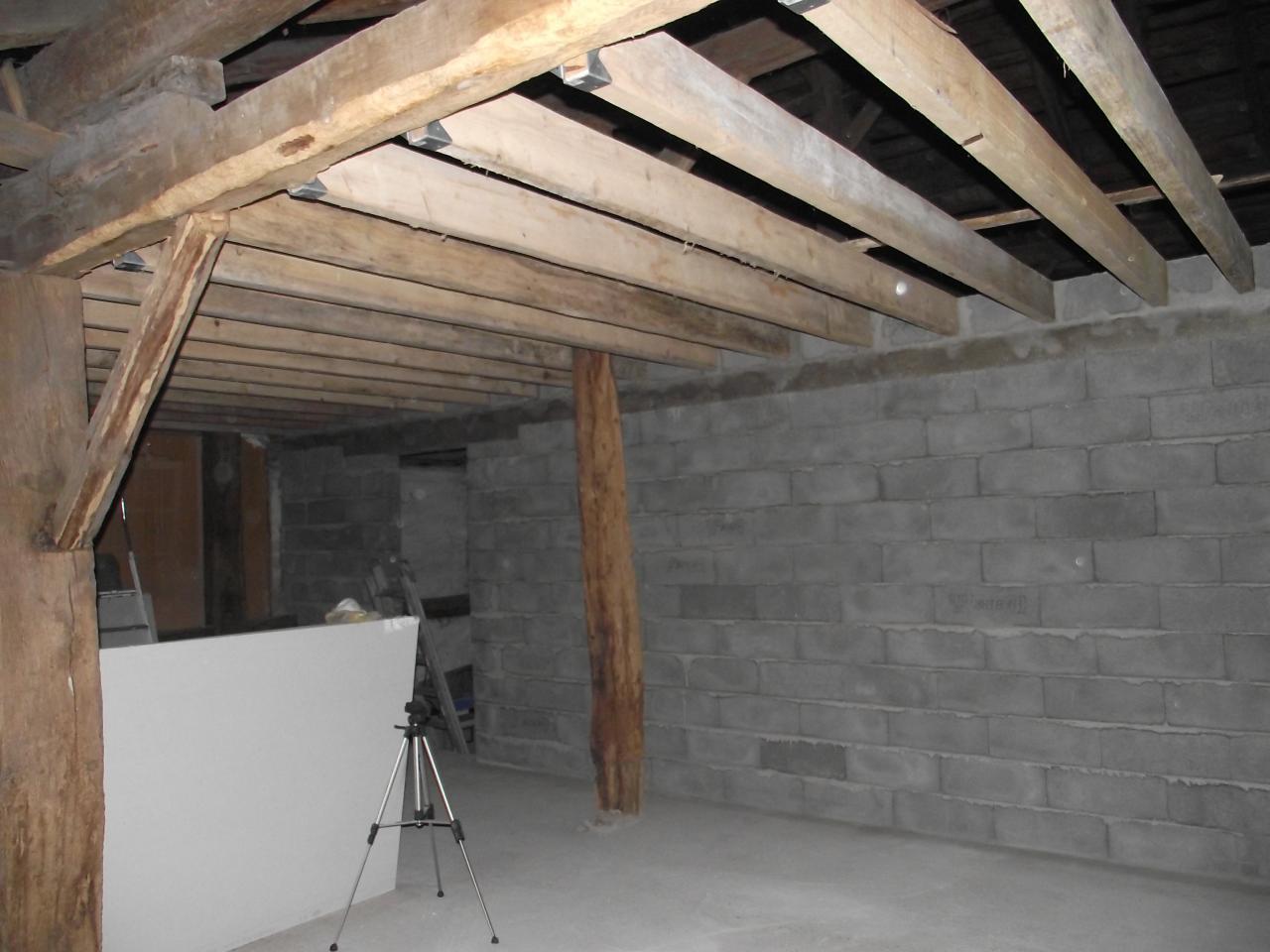 cr ation d 39 un mur et pose de poutres pour faux plafond. Black Bedroom Furniture Sets. Home Design Ideas