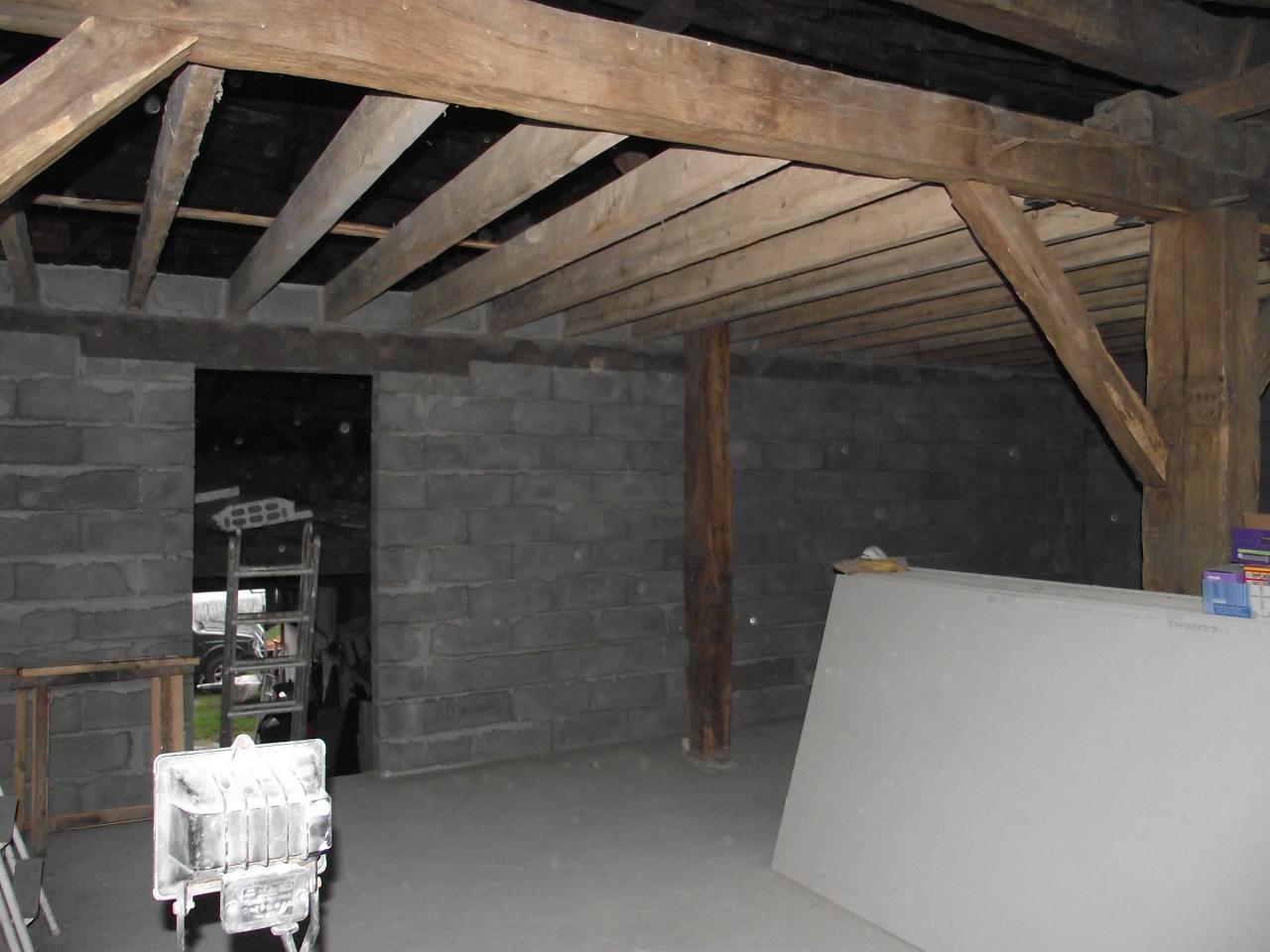 Cr ation d 39 un mur et pose de poutres pour faux plafond for Creer un faux plafond